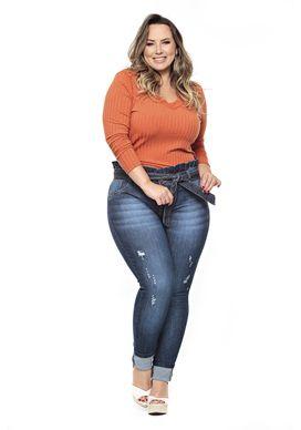 Blusa manga longa laranja plus size